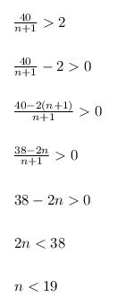 (an) задана формулой an=40</(n+1).
